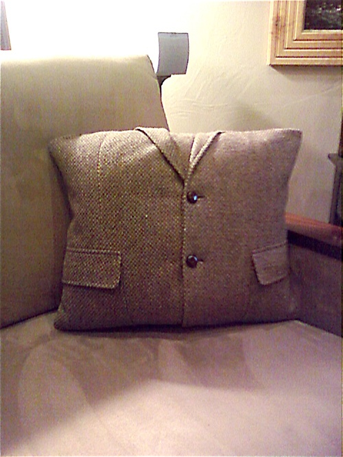 Old suit jacket into a pillow.