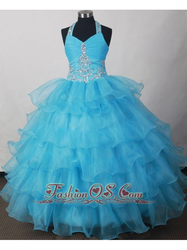 Halter Beading And Ruffled Layers For 2013 Lovely Little Girl Pageant Dresses- $158.39  www.fashionos.com   zipper up back consignment pageant dresses | layered organza ruffles little girl pageant dresses | 2014 winter simple pageant dresses for little girls | 2015 formal pageant dresses for kids |