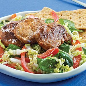 Dinner Salads with Poultry and Meats | Spinach Salad with Spiced Pork and Ginger Dressing | CookingLight.com