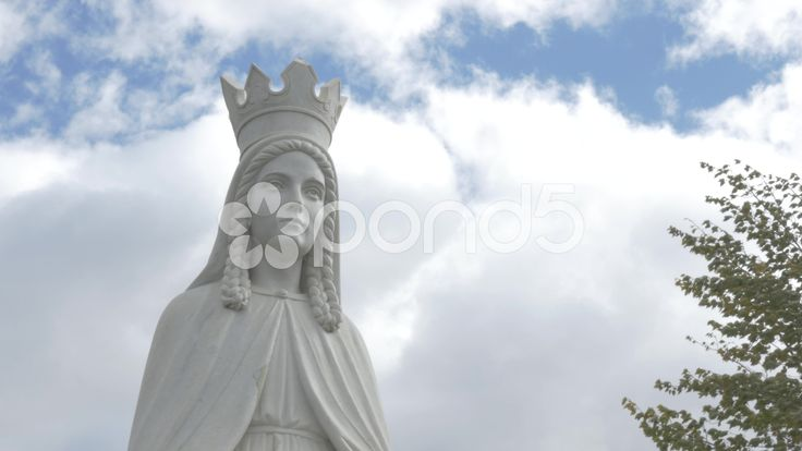 4K Close Up Statue Lady Of Peace Christian Monument Trees Sky Clouds Hand Held - Stock Footage | by RyanJonesFilms #gh4 #lumix #panasonic #4k #statue #dunvegan #peace #monument #ladyofpeace #video