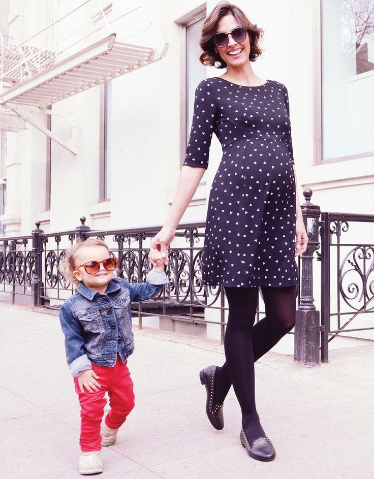 Woven crepe fabric Defined empire waist Elegant V back This maternity dre…