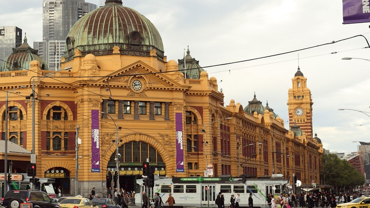 Flinders Station, Melbourne - drove by and rode through, but didn't actually hang out. Gorgeous building.