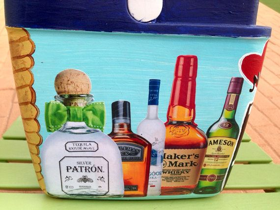Hand painted cooler by Wanderbond on Etsy