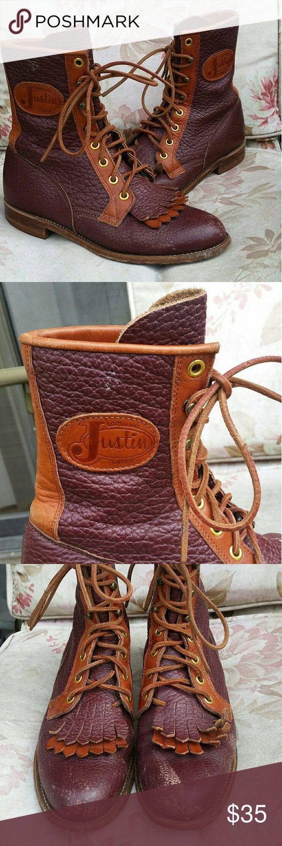 Vintage Justin roper boots These vintage burgundy ropers are beautiful!  Would look great with leggings and a tunic top.  There are some discolorations on the outside but other than that are in great condition.  5.5 in men so a 7 in women's and is a little narrow in the toe. Justin Boots Shoes Lace Up Boots