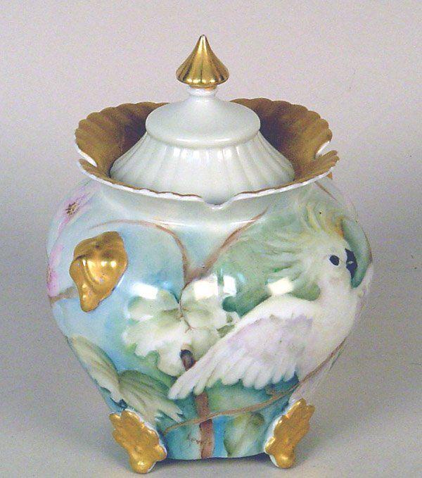 """Lidded Biscuit Jar with Cockatoo Bird. 8""""h"""