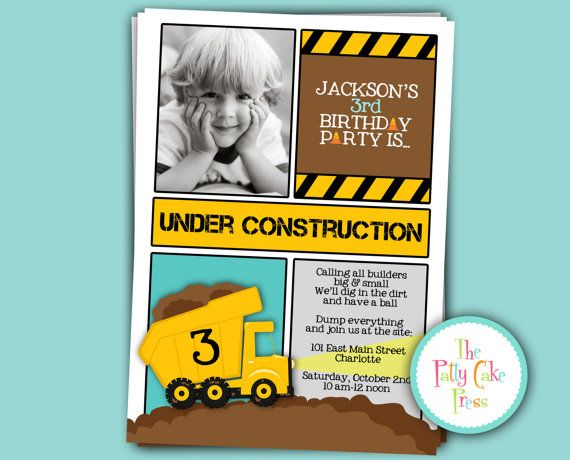 104 best images about Construction Party – Dump Truck Party Invitations