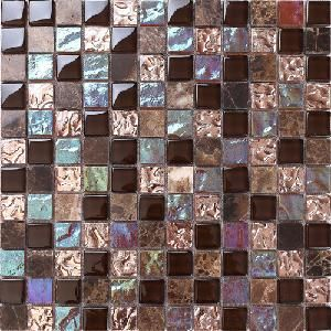 [Hot Item] Crystal Glass Mixed Stone And Iridescent Anaglyph Glass Mosaic  Tile