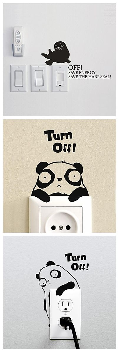 Turn it off! Cute animal stickers for light switches on the wall.