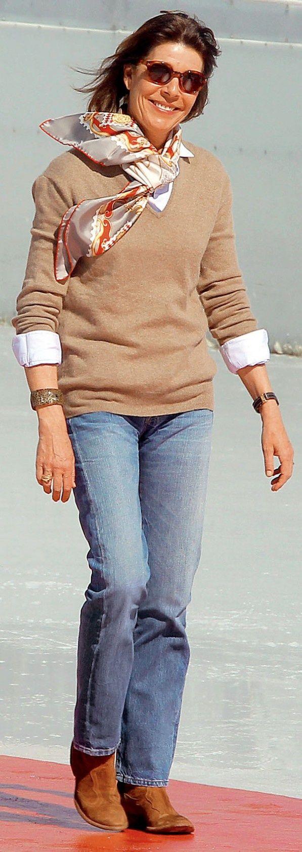 Princess Caroline of Monaco wearing faded jeans