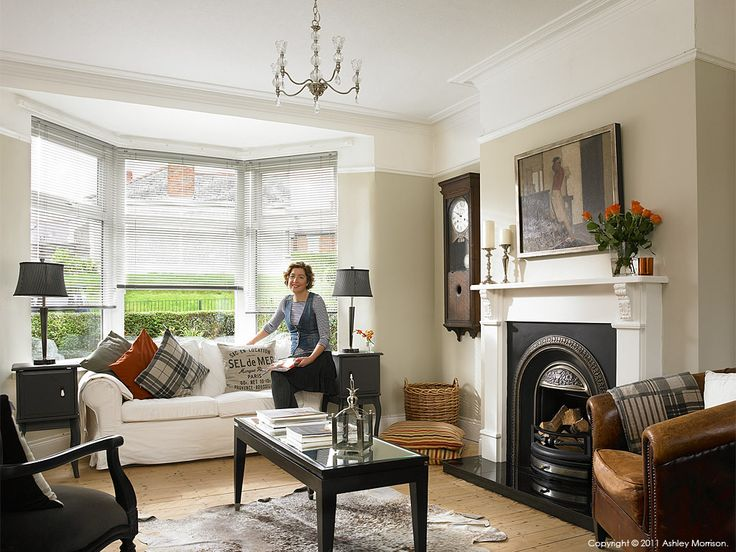 Janet hamilton in the living room of her newly refurbished for 1930s interior design living room
