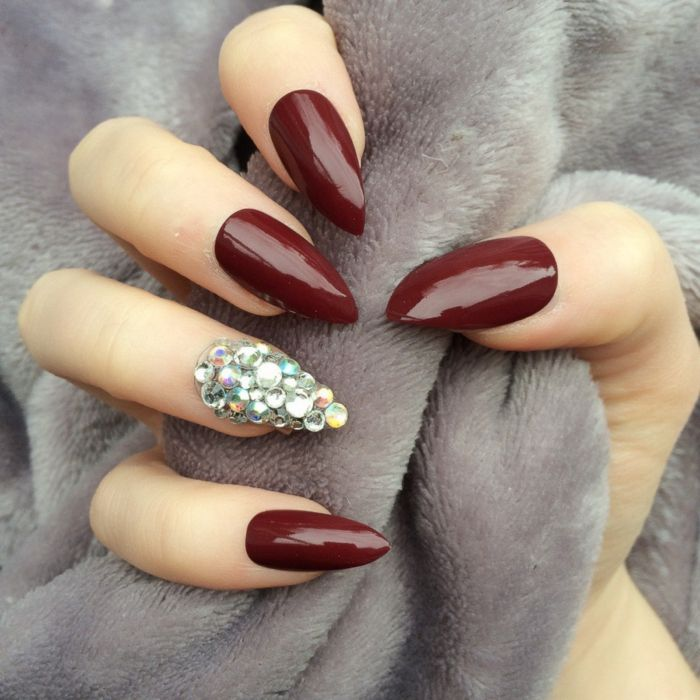 1001 Ideas For Pointy Nails Design And Inspiration Manicure And Nail Art Dark Red Nails
