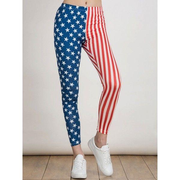 Choies Multicolor American Flag Print Leggings ($20) ❤ liked on Polyvore featuring pants, leggings, multi, print pants, multi color pants, multi colored pants, usa flag pants and patterned leggings