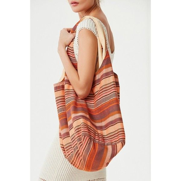 Striped Slouchy Tote Bag ($29) ❤ liked on Polyvore featuring bags, handbags, tote bags, red tote bag, urban outfitters tote bag, boho tote, tote purses and striped tote