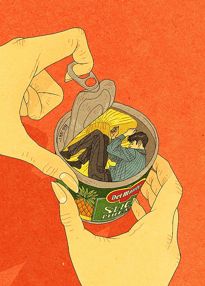 "Afu Chan is a freelance illustrator and a comic artist. // My tribute to Chungking Express. ""I'm no different from a can of pineapple."""