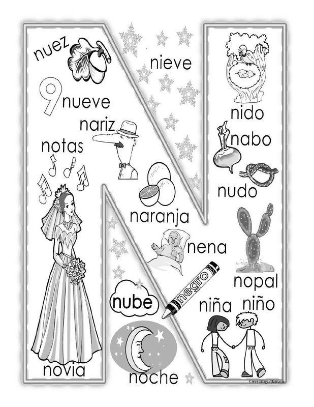 """""""N"""" coloring page                                                                                                                                                                                 Más"""