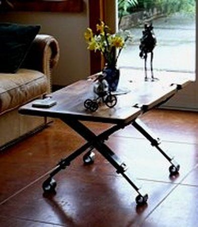 Table with leaf spring legs