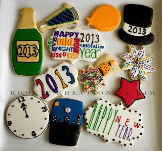 New Year Cookies - Kookie Kreations by Kim