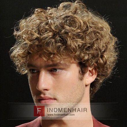european blonde medium long curly mens wigs hair pieces