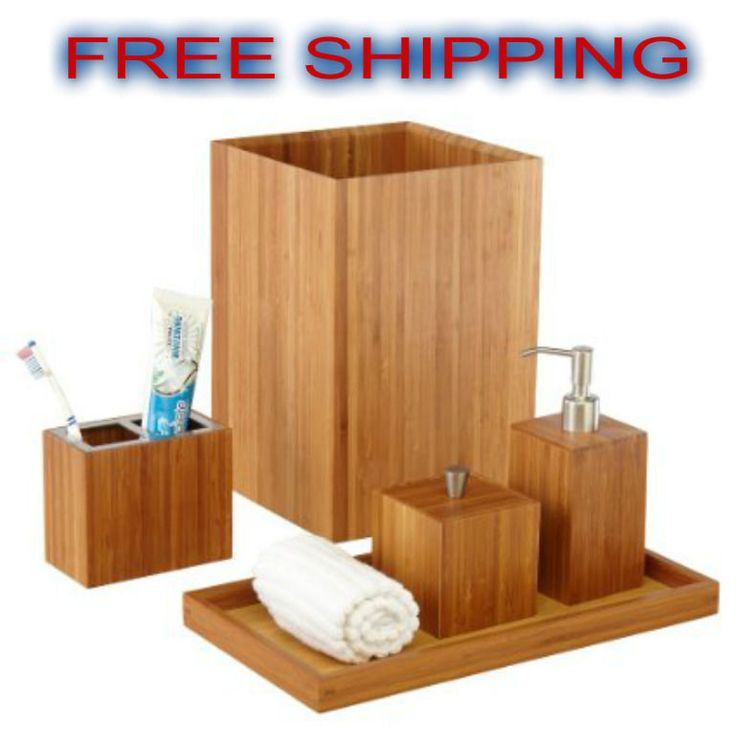 Bath Vanity Set Bamboo Luxury Stylish Bathroom Accesories Soap Dispenser Decor *