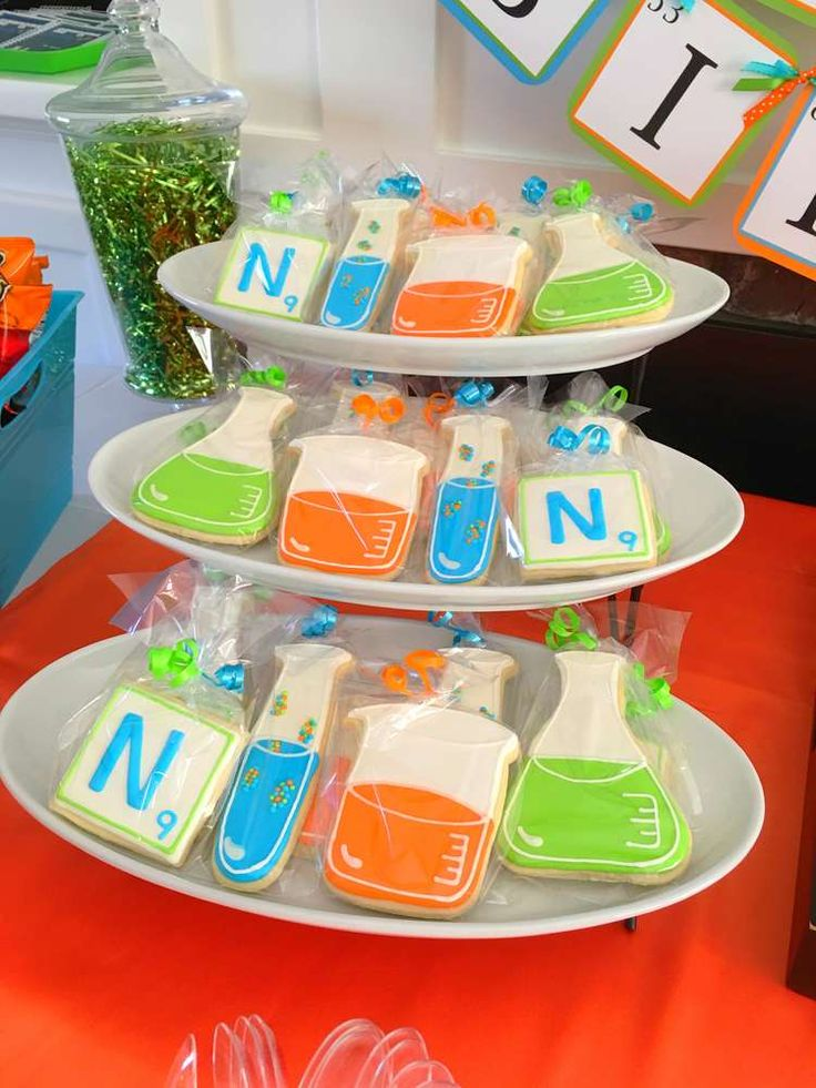 Decorated cookies at a science birthday party! See more party planning ideas at CatchMyParty.com!