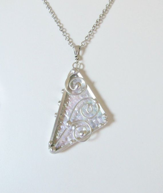 Wire Work Necklace Stained Glass Pendant Iridescent Jewelry