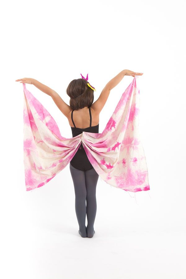 Butterfly Costume | Oh Happy Day!  Let the children paint muslin or other light natural fabric, maybe attach to a vest to make them easy to put on and take off!