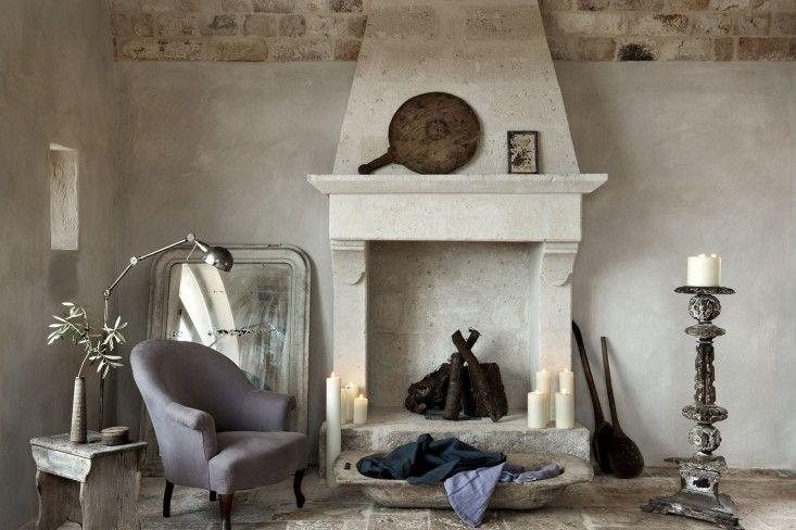 Alexander Waterworth Interiors, Masseria Petrarolo, Stone Fireplace Mantel, Photographs by Emily Andrews