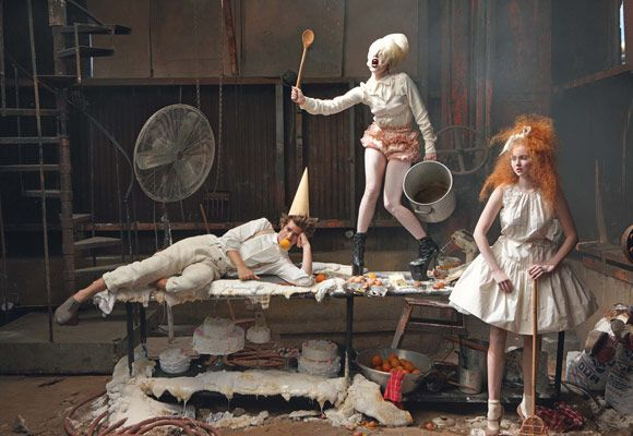 LITTLE GIRL & BOY LOST -Hansel and Gretel- Andrew Garfield, Lily Cole & Lady Gaga, Vogue December 2009.  By Annie Leibovitz