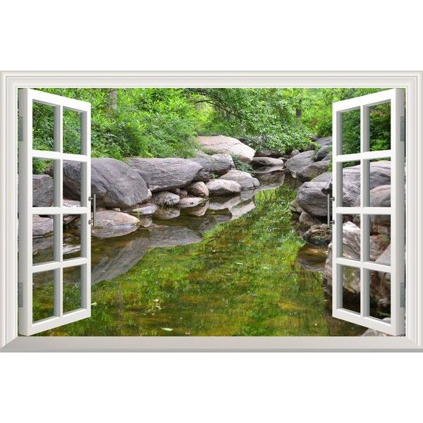 Oriental Spring River With Rocks And Trees Open Window Mural Wall... ($20)  ❤ Liked On Polyvore Featuring Home, Home Decor, Wall Art, Tree Wall Decal,  ... Part 38
