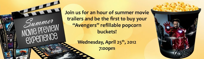 Come to Celebration Cinema for an hour long summer movie trailer spectacular! Free event on April 25th with free prizes and the opportunity to buy summer popcorn buckets!