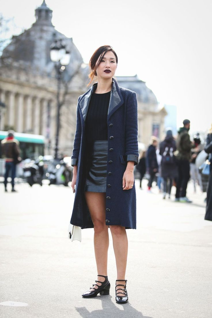 What The Street Style Stars Wore To Chanel's #FrontRowOnly Show #refinery29  http://www.refinery29.com/2016/03/105548/chanel-street-style-paris-fall-winter-2016#slide-44  Black and navy look best when worn together....