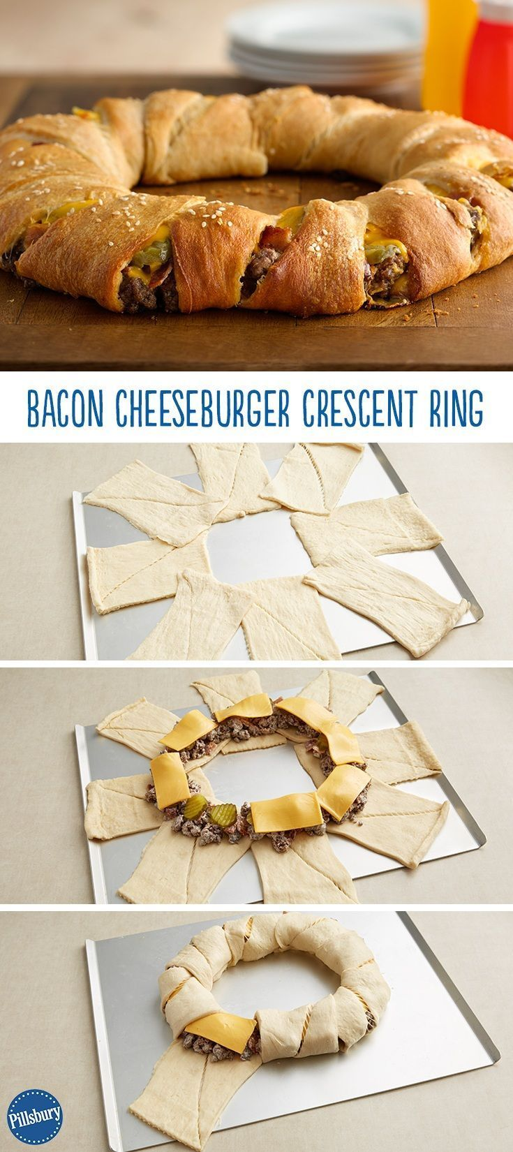 We have officially found something better than any old burger – a Bacon Cheeseburger Crescent Ring! Simply wrap crescent dough around your favorite burger ingredients and dinner is served.