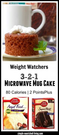 Weight Watchers 321 Microwave Mug Cake. Simple and Delicious Way to Satisfy a Cake Craving for Minimal Weight Watchers Points Plus. 80 calories, 2 WWPP http://simple-nourished-living.com/2015/10/weight-watchers-3-2-1-microwave-mug-cake/