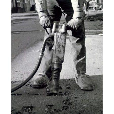 Detail of a worker using a jackhammer Canvas Art - (24 x 36)