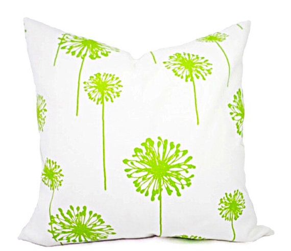 GREEN pillow covers  Dandelion Cushion  by TwistedBobbinPillows
