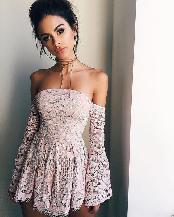 Homecoming Dress,off the shoulder long sleeves pink prom