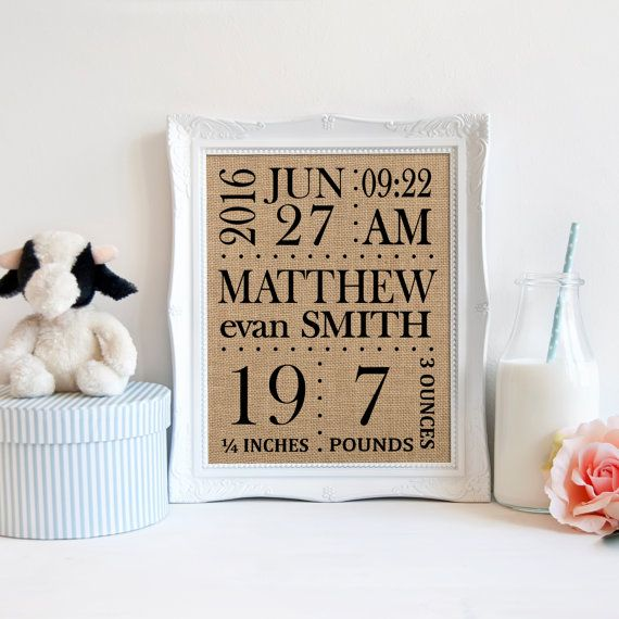 Birth Announcement Burlap Print, Farmhouse Nursery, Rustic Nursery, Personalized Baby Gift, New Baby Gift, Gender Neutral Baby Gift