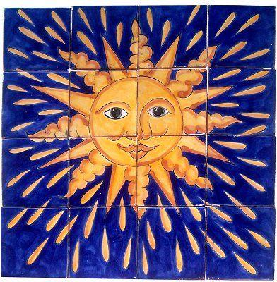 """17""""x17"""" 80.00 Sun II. Clay Talavera Tile Mural"""
