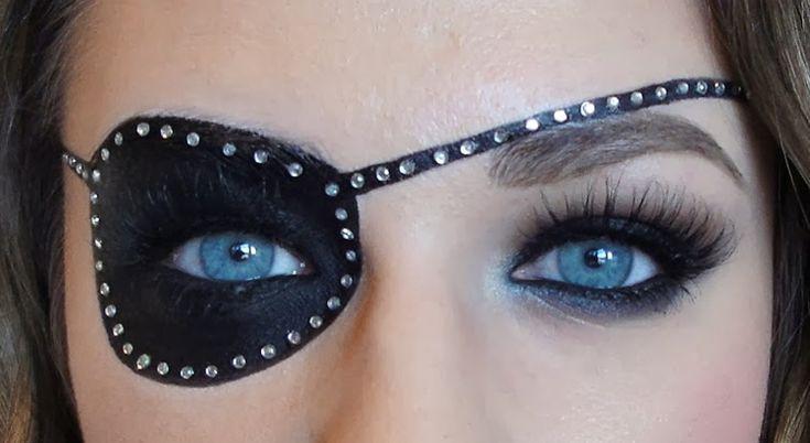 Pirat schminken frau-piratenklappe-strassteinchen-blaue-augen