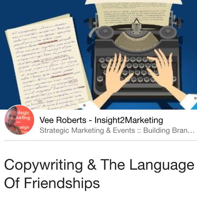 Tips for writing good copy & building lasting relationships   #blogpost #article #journalist #news #pr #copywriter #editor #business #projectManager #relationship #socialselling #sales   https://www.linkedin.com/pulse/copywriting-language-friendships-vee-roberts-insight2marketing
