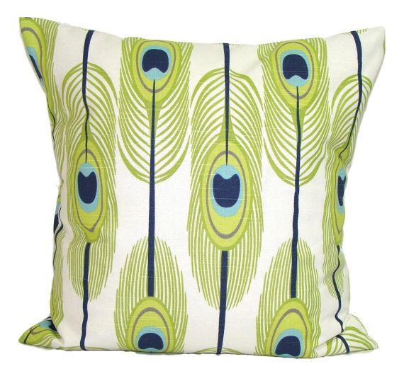 GREEN Pillows BLUE Pillows Feather Pillow Cover by ElemenOPillows