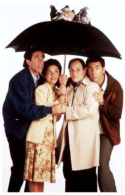 A great poster of the cast of the classic and hilarious TV sit-com Seinfeld taking a little shelter from the storm (of pigeon poo)! Ships fast. 11x17 inches. Need Poster Mounts..?