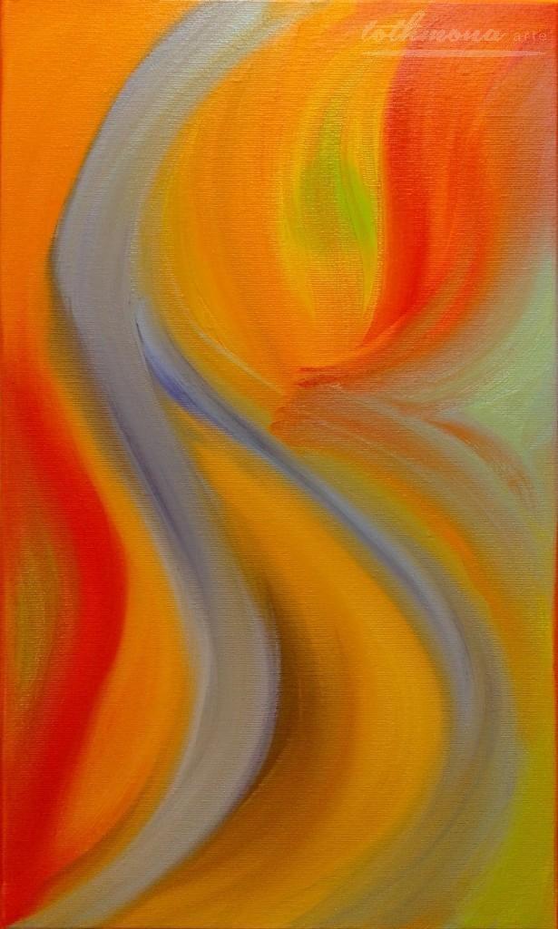 Orange blossom: finger painting | oil on canvas | 30x50cm