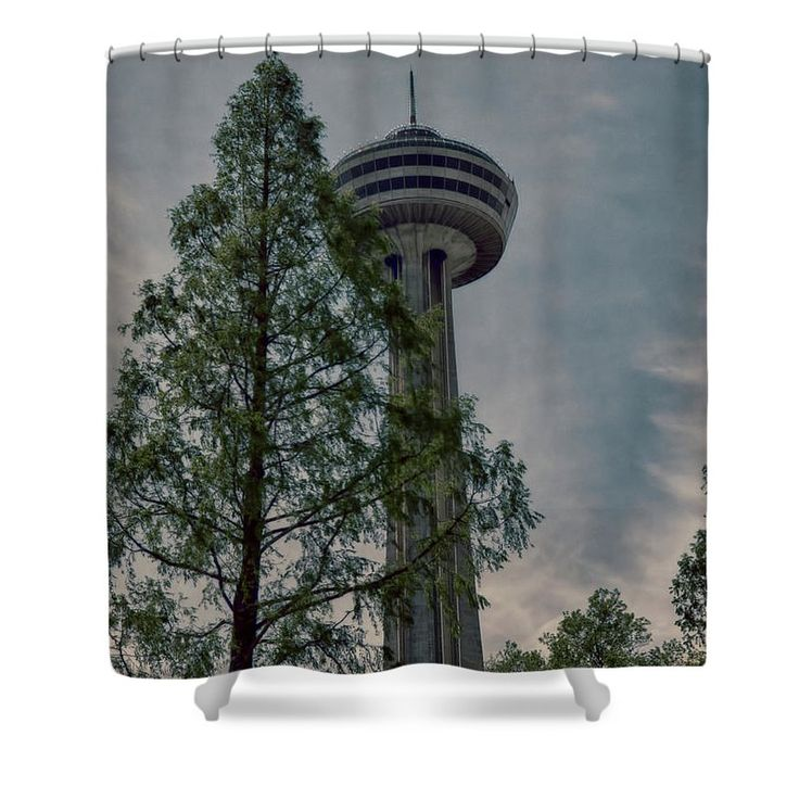 Looking Up At The Skylon Shower Curtain by Leslie Montgomery.