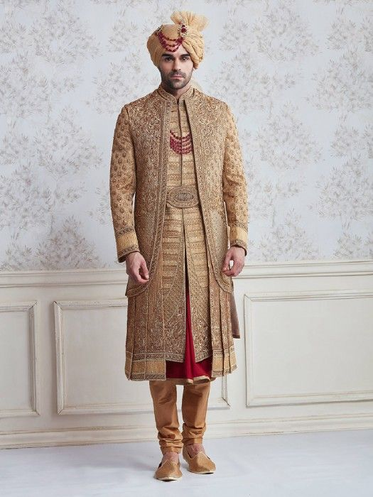 c16f0be308 Jute beige wedding wear designer sherwani - G3-MSH10004 | Indian ...