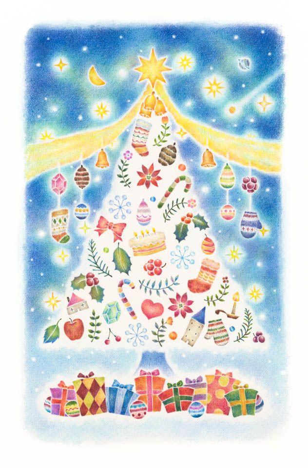 """Christmas Tree"" −RiLi, picture book, illustration, design ___ ""クリスマスツリー"" −リリ, 絵本, イラスト, デザイン ...... #design #illustration #chiristmas #tree #happy #holiday #デザイン #イラスト #クリスマス #ツリー #ハッピーホリデー"