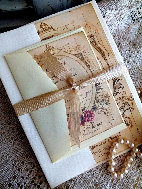 Romantic Vintage Wedding Invitation Suite ♥ AVintageObsession - $5.00