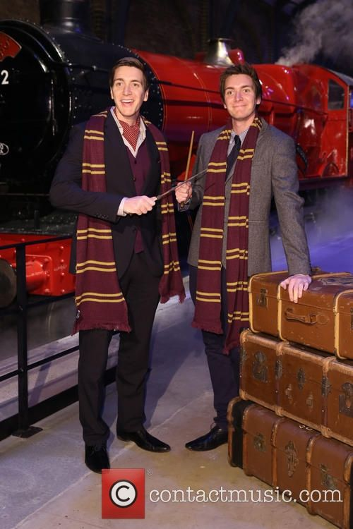 James and Oliver Phelps at the launch of @wbtourlondon's new expansion of the Hogwart's Express!