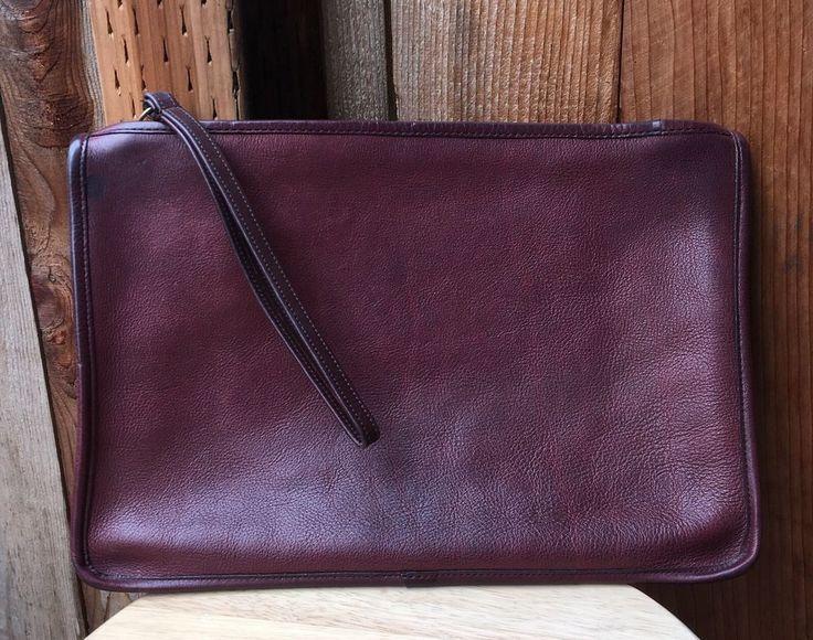 Vintage Coach Large Slim Clutch Portfolio Zipper Envelope Pouch Burgundy NYC  #Coach #Clutch