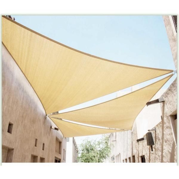 Pergola Ideas Discover Colourtree 24 Ft X 24 Ft 190 Gsm Beige Equilateral Triangle Sun Shade Sail Screen Canopy Outdoor In 2020 Shade Sail Sun Sail Shade Patio Shade